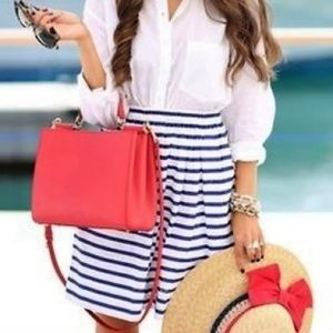 J. Crew Pull-On Skirt in Nautical Stripe